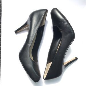 Max studio black leather heels size 9